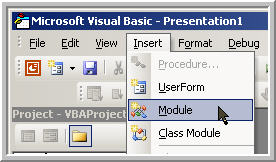 Insert a module in the vb editor